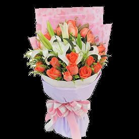 """Bouquet """"Lilies +roses"""""""