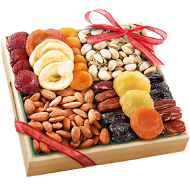 A box of dried fruits and nuts